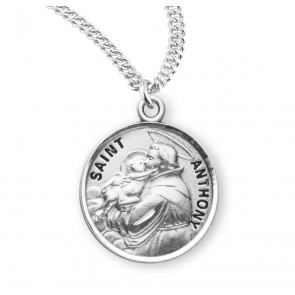 Patron Saint Anthony Round Sterling Silver Medal