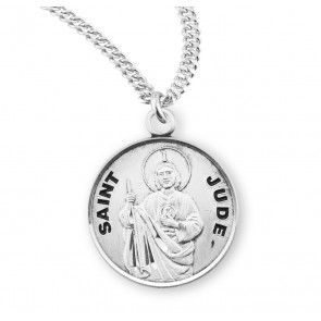 Patron Saint Jude Round Sterling Silver  Medal
