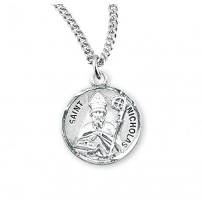Patron Saint Nicholas Round Sterling Silver Medal