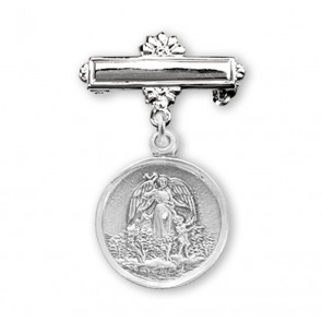Sterling Silver Baby Guardian Angel Medal on a Bar Pin