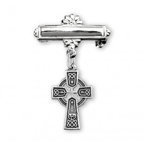 Sterling Silver Baby Irish Celtic cross on a Bar Pin