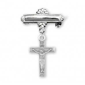 Sterling Silver Baby Crucifix on a Bar Pin