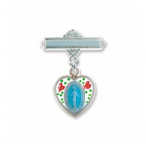 Enameled Oval Fancy Edge Sterling Silver Baby Miraculous Baby Medal on a Bar Pin