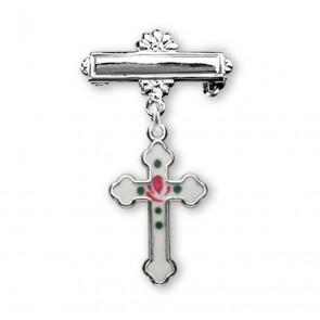 Sterling Silver Rosebud White Enameled Baby Cross Pin