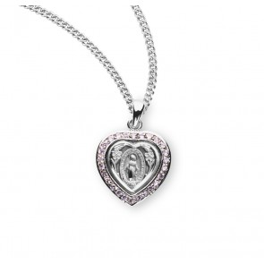 Sterling Silver Pink Cubic Zircon Miraculous Medal