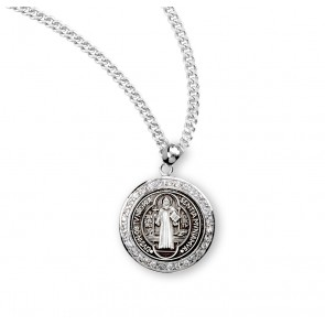 Saint Benedict Round Sterling Silver Medal with Cubic Zircons