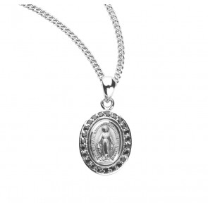 Sterling Silver Jet Black Cubic Zircon Miraculous Medal