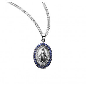 Sterling Silver Sapphire Cubic Zircon Miraculous Medal