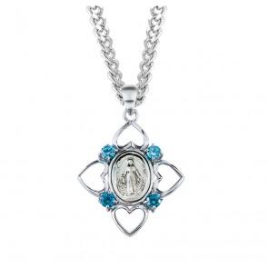 Sterling Silver Aqua Cubic Zircon Miraculous Medal