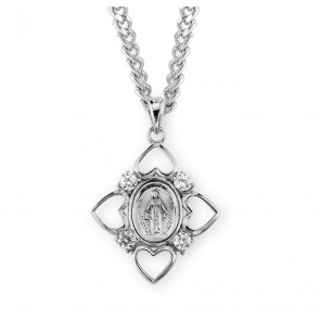 Sterling Silver Crystal Cubic Zircon Miraculous Medal