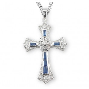 Sapphire and Crystal Cubic Zircon Cross