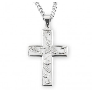 Crystal Cubic Zircon Sterling Silver  Vine Cross