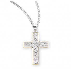 Crystal Cubic Zircon Sterling Silver Two Tone Vine Cross