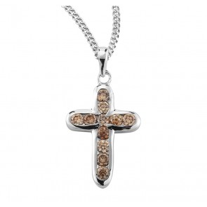 Sterling Silver Champagne Crystal Zircon Cross