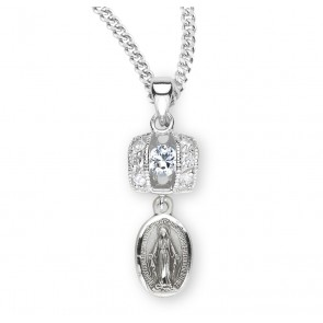 Sterling Silver Miraculous Medal with Cubic Set Zircons