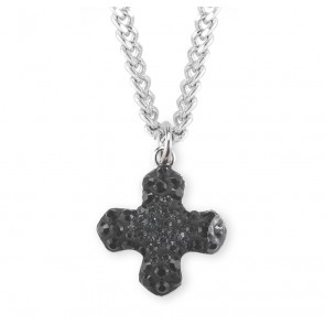Crystal Silver Night and Jet Swarovski Pave Greek Cross Pendant